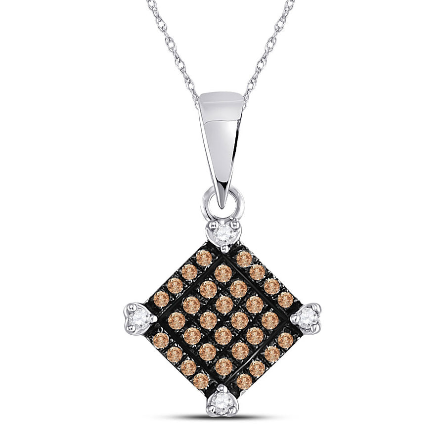 10kt White Gold Womens Round Brown Diamond Square Pendant 1/6 Cttw
