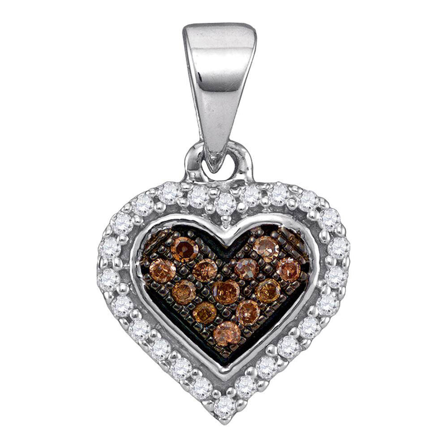 10kt White Gold Womens Round Brown Diamond Heart Cluster Pendant 1/8 Cttw