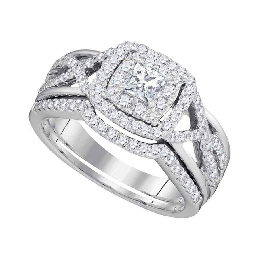 14kt White Gold Princess Diamond Bridal Wedding Ring Band Set 7/8 Cttw