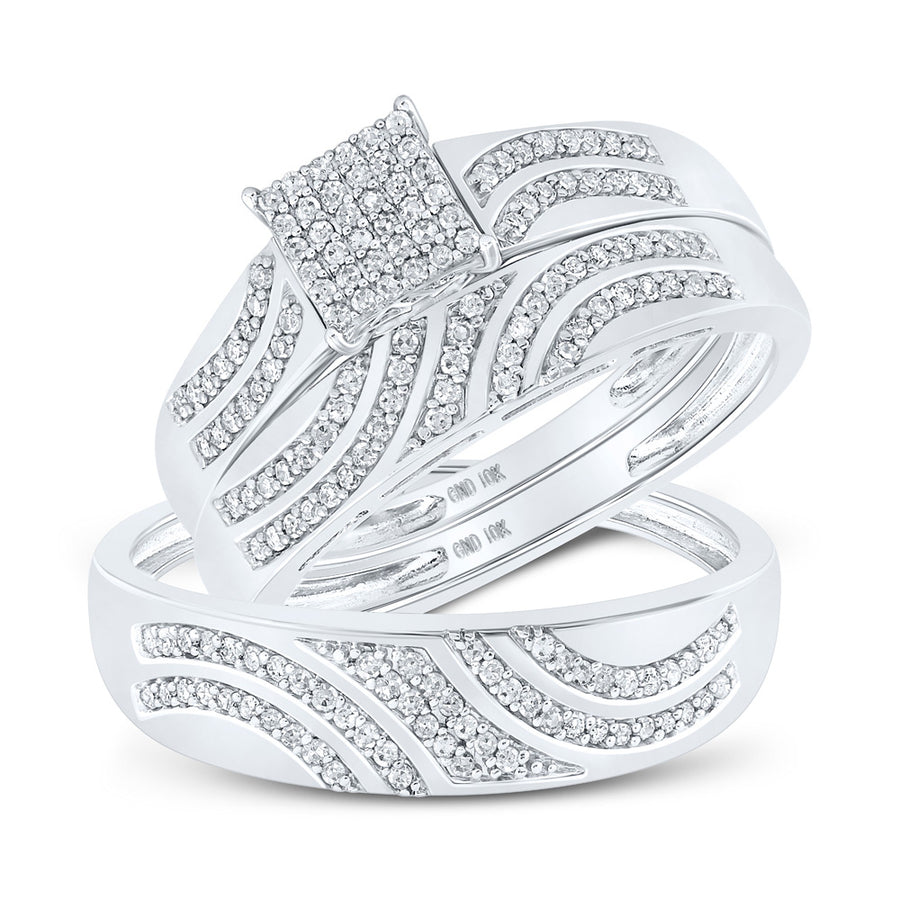 10kt White Gold His Hers Round Diamond Square Matching Wedding Set 3/8 Cttw