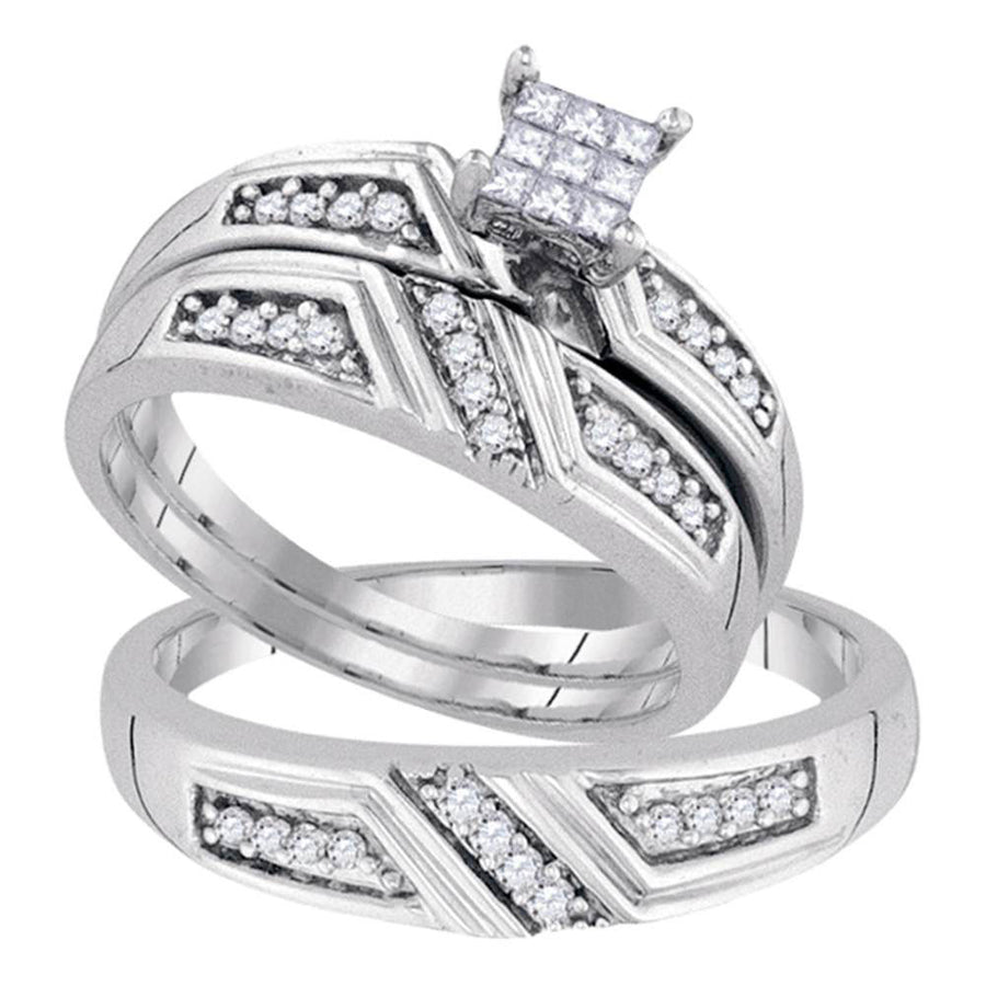 Sterling Silver His Hers Princess Diamond Cluster Matching Wedding Set 1/3 Cttw