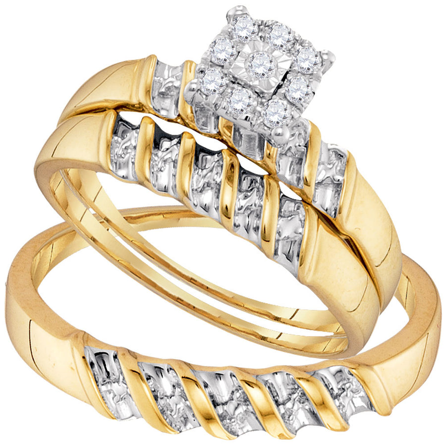 10kt Yellow Gold His Hers Round Diamond Solitaire Matching Wedding Set 1/8 Cttw