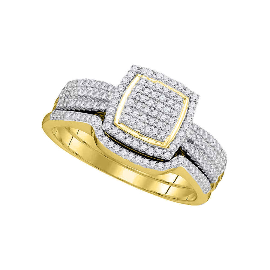 10kt Yellow Gold Round Diamond Square Bridal Wedding Ring Band Set 1/2 Cttw