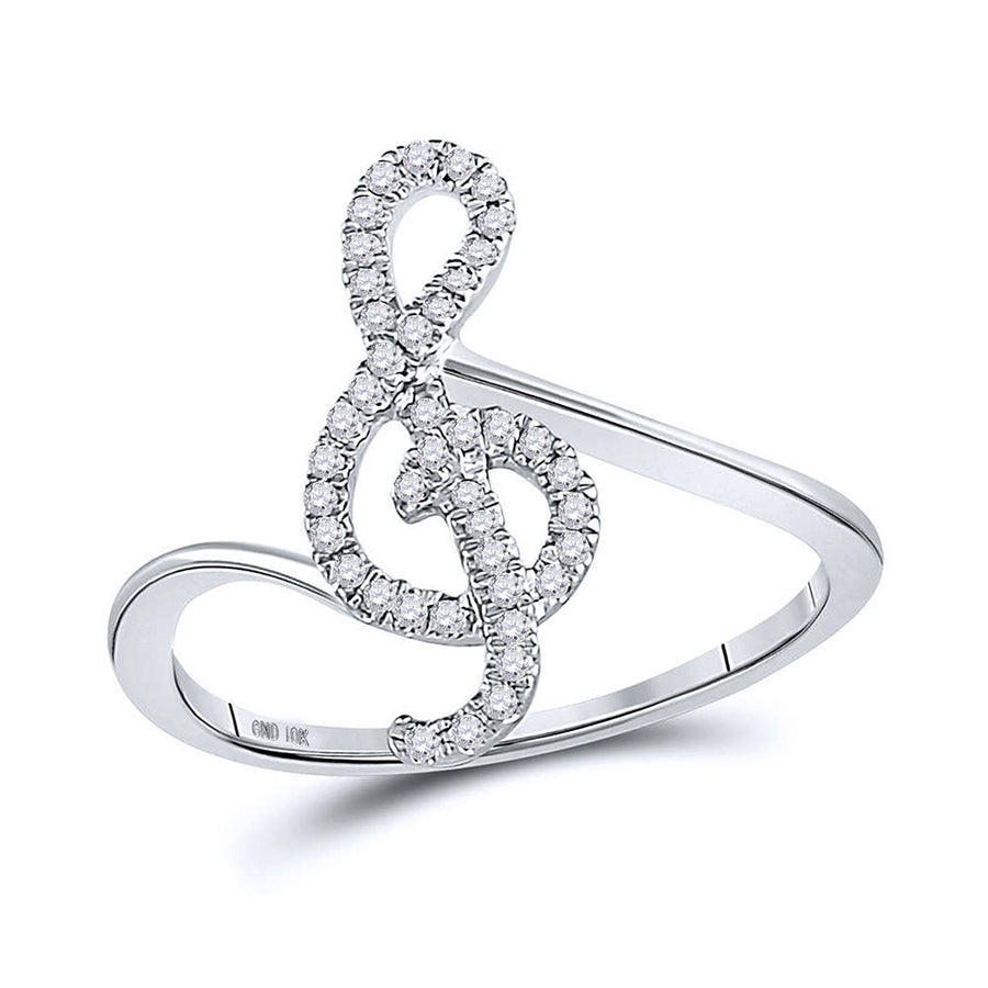 10kt White Gold Womens Round Diamond Treble Clef Music Note Fashion Ring 1/6 Cttw
