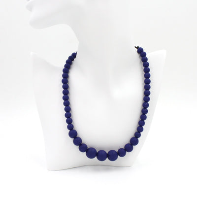 Navy Silicon rubber bead necklace