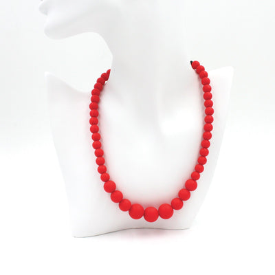 Christmas Red Silicon rubber bead necklace