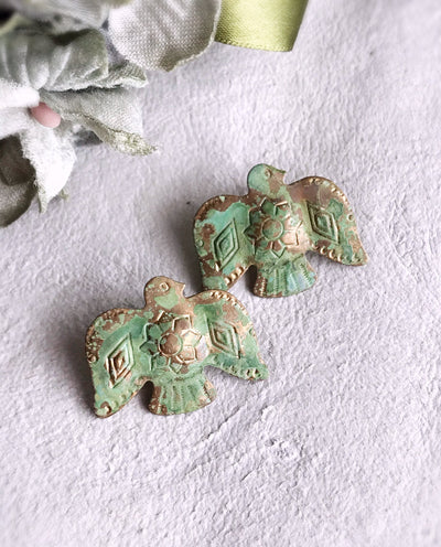 thunderbird earrings - verdigris