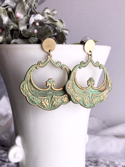 cairo hoop earrings - verdigris