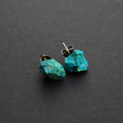 Raw Chrysocolla Chunk Earrings,  Rock Stud Earrings, Crystal Earrings - NATURE'S AROMA
