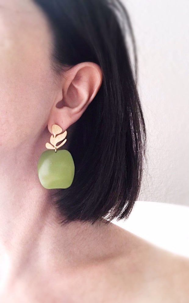 apple earrings - brushed brass verdigris