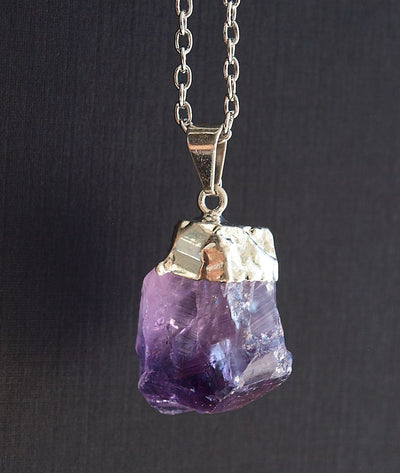 Raw Amethyst Crystal Statement Necklace