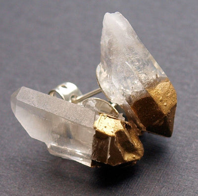 Gold & Raw Quartz Chunk Earrings, Geo Earrings, Rock Stud Earrings, Crystal Earrings - NATURE'S AROMA
