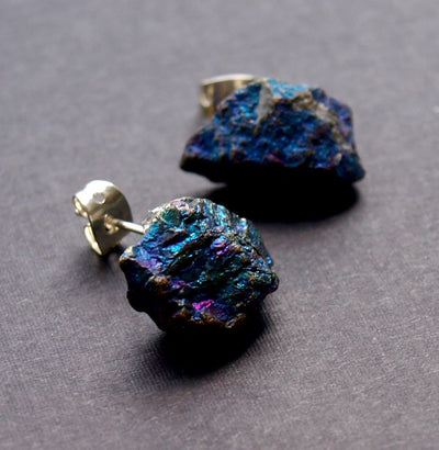 Raw Peacock Ore Chunk Earrings, Geo Earrings, Rock Stud Earrings