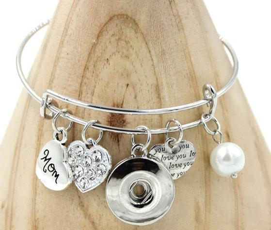 Mom - Family - Love - Themed Bangle Bracelet - Customize with one of Our Snaps - Includes Five Pictured Charms and Your Choice of Snap