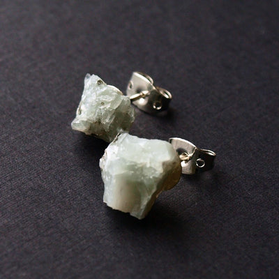 Raw Emerald Earrings, Emerald Studs