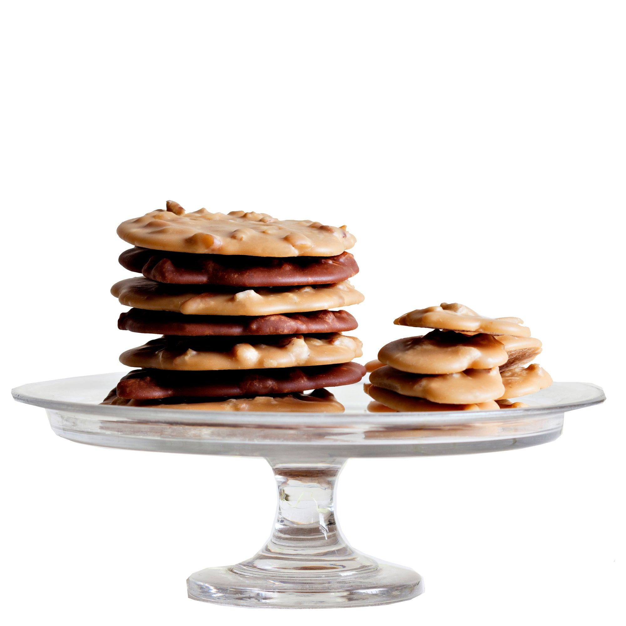 Leah's Pralines - Pecan Pralines on a cakestand