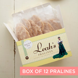 Gift box of 12 individually wrapped Chocolate Pecan Pralines