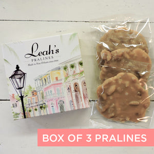 Assorted Pecan Pralines gift box. Includes 3 individually wrapped pralines.