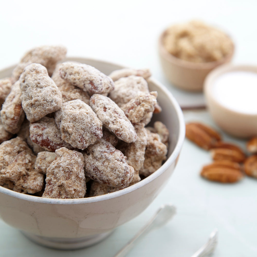 Praline Frosted Pecans - our most popular frosted pecan flavor
