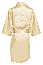 SILVER GLITTER PRINT MAID OF HONOR SATIN ROBE