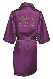 GOLD THREAD EMBROIDERED MOTHER OF THE BRIDE SATIN ROBE