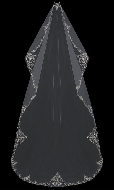 MANTILLA-CUT CATHEDRAL BRIDAL VEIL | V704C-M