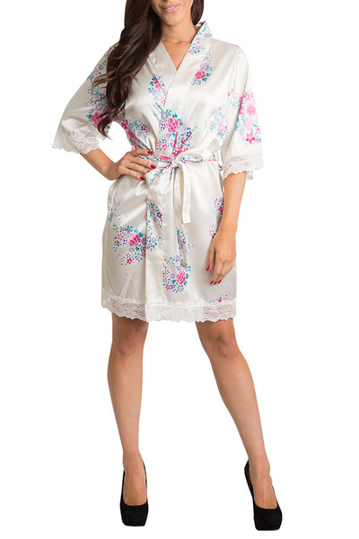 PLAIN FLORAL LACE SATIN ROBE