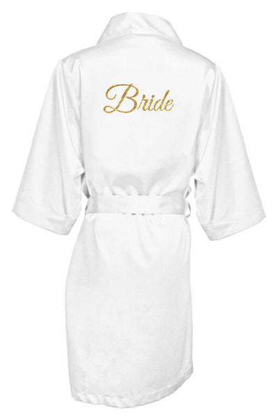 GOLD GLITTER PRINT BRIDE SATIN ROBE