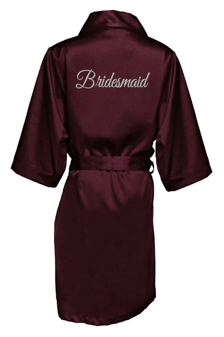 SILVER THREAD EMBROIDERED BRIDESMAID SATIN ROBE