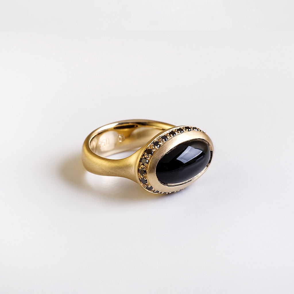 Oval Onyx And Black Diamonds