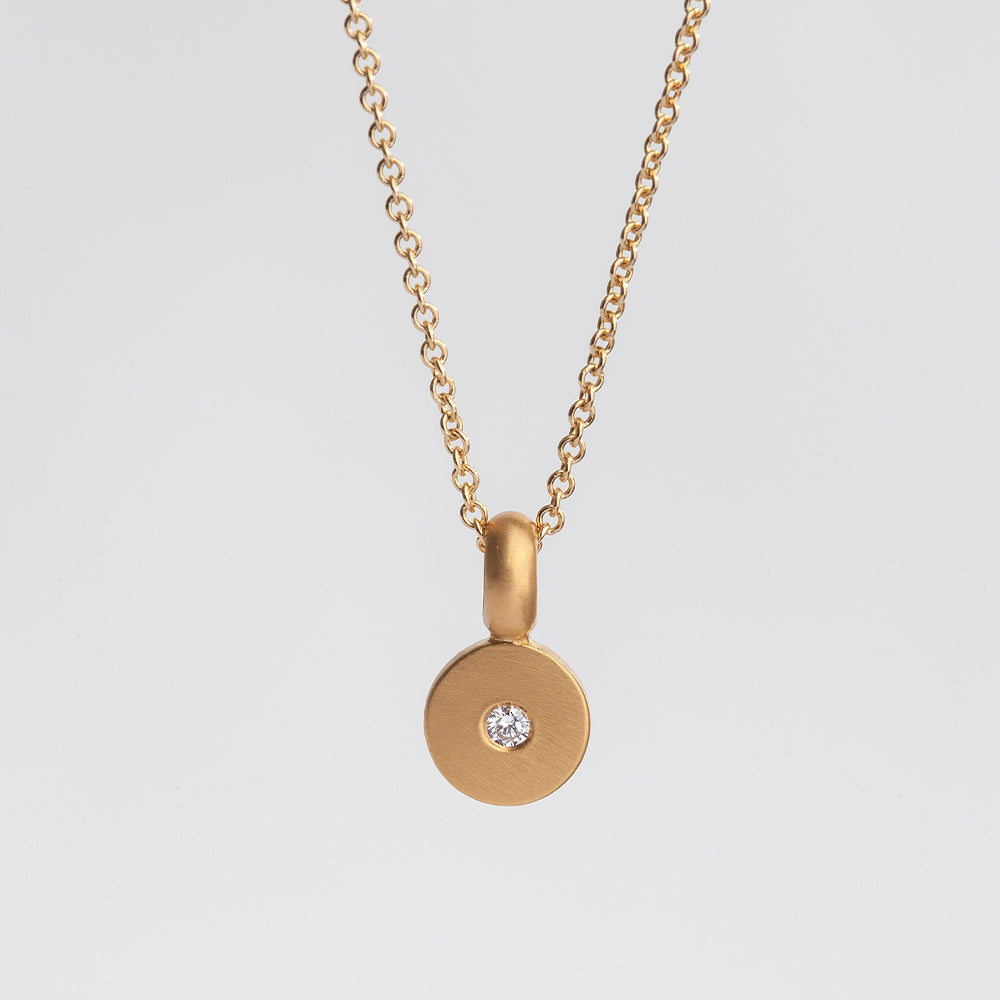 Flat Disc Slice With Diamond Pendant