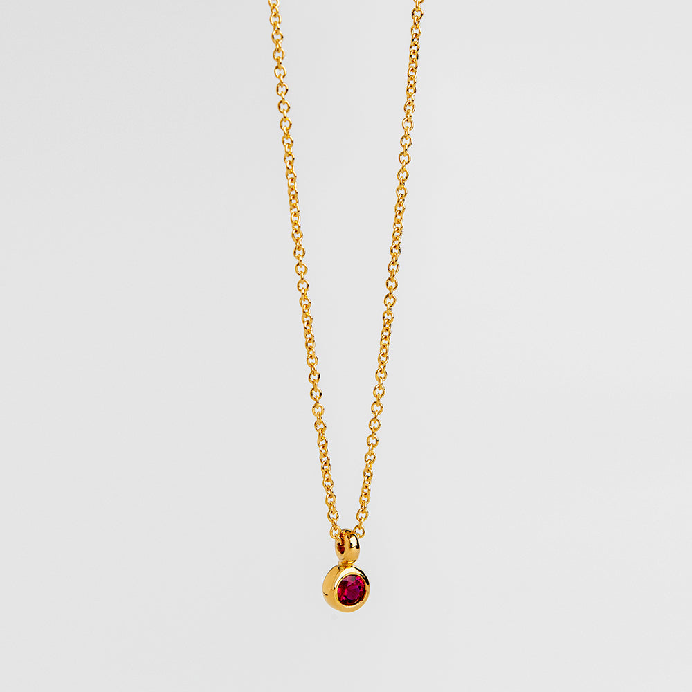Tiny Ruby Pendant (Round)