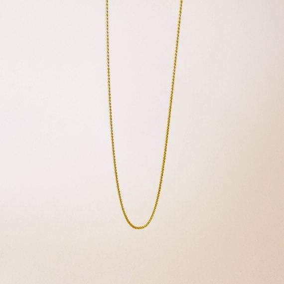 Thick Gold Chain ⦁ Simple Men's Chain 18 Kt Yellow Gold ⦁ Yellow Solid Gold Spiga Chain ⦁ Wheat Chain 1 mm 42 cm Chain 45 cm 18""