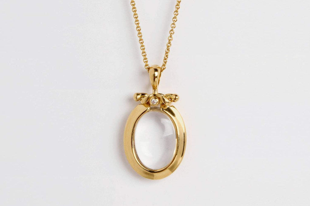 Oval Rock Crystal Pendant ⦁ Clear Stone Pendant ⦁ 18k Gold Pendant Necklace ⦁  Transparent Gemstone Stone Pendant for Women