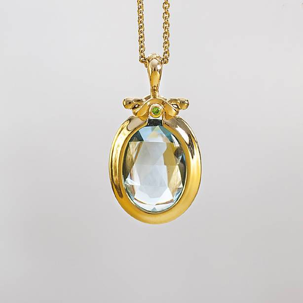 Unique Blue Topaz Faceted Gemstone Pendant Necklace ⦁ Blue Gemstone Jewel ⦁ 18k Gold Oval Necklace for Her