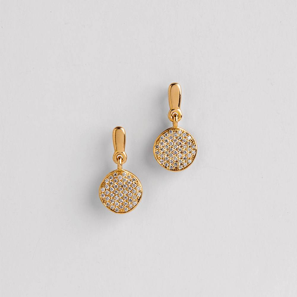 Round Dangle Bridal Earrings ⦁ White Diamonds Dangle Elegant Earrings ⦁ 18k Yellow Gold Earrings Studs ⦁ Dangle Stud for Women