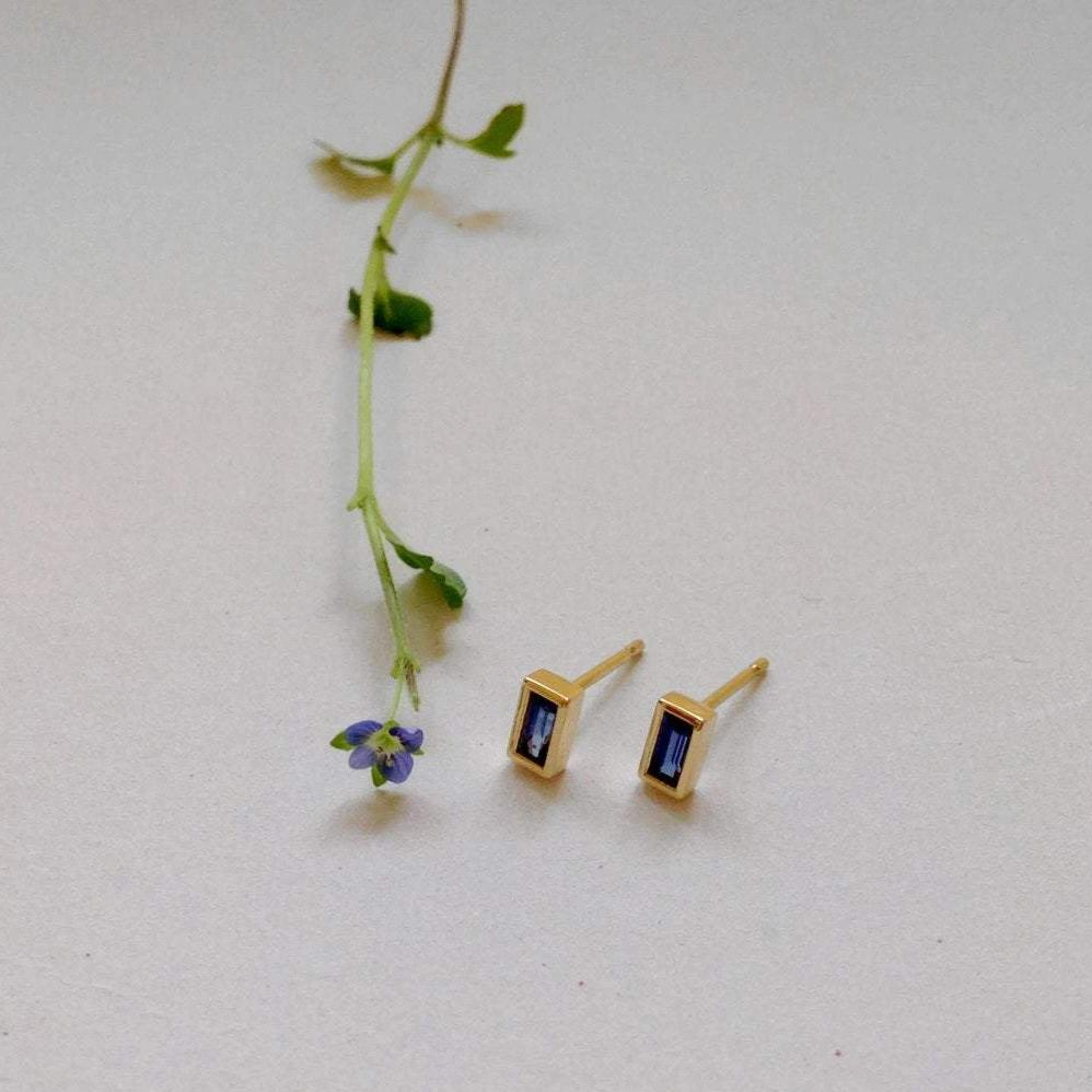 Blue Baguettes Earrings