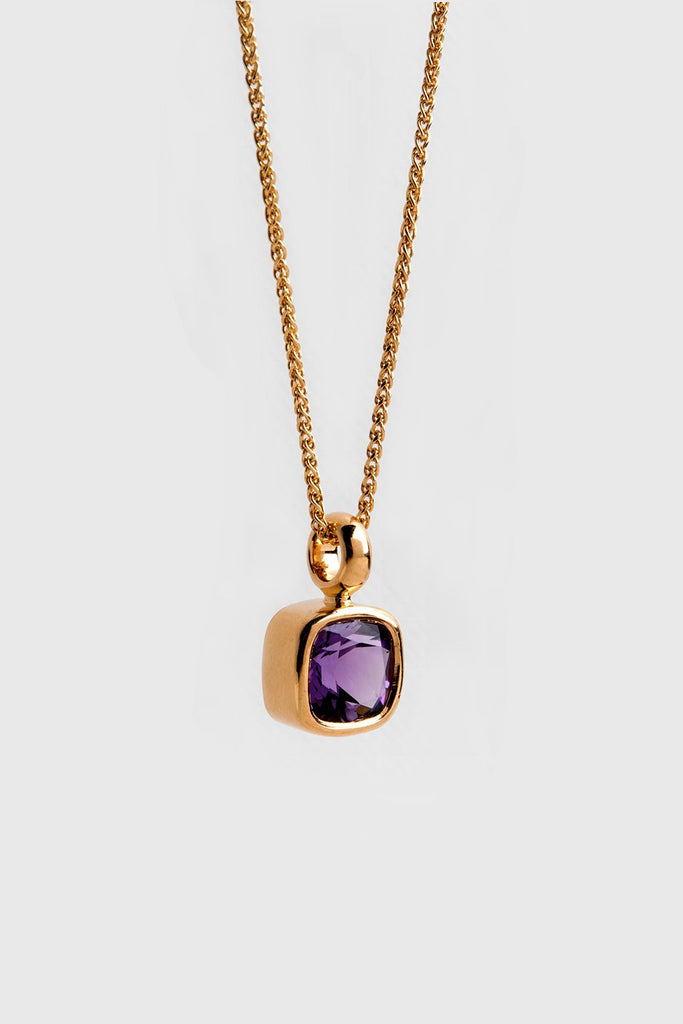 Square Amethyst Necklace 22k / 18k Gold Bezel Pendant ⦁ Purple Gemstone Pendant ⦁ Violet Stone Pendant ⦁ February Birthstone Jewelry