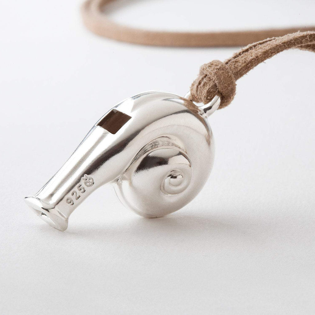 Unique Working Whistle Pendant Sterling Silver ⦁ Statement Pendant for Men Women ⦁ Masculine Gift for Him ⦁ Snail ⦁ Valentine's Day