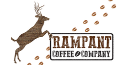 Logo of Rampant Coffee Company featuring a deer on it's back legs and coffee beans