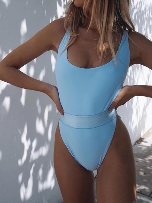 Solid Color Split-Joint Backless One-Piece Swimwear
