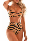 Tiger Pattern Belted Embellished Underwired Split Bikini Swimsuit