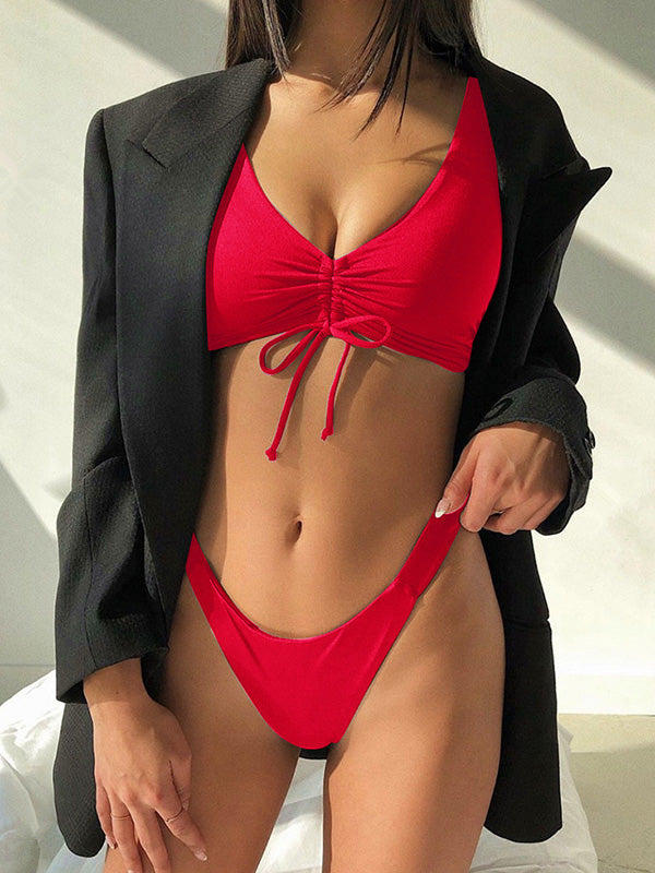 Sexy Drawstring Solid Color Split Bikini Swimsuit