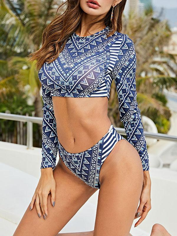 Ethnic Printed Long Sleeve Split Wetsuit