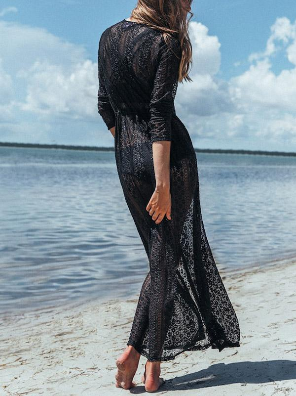 Bohemia Lace Long Sleeve Cover-Ups Tops