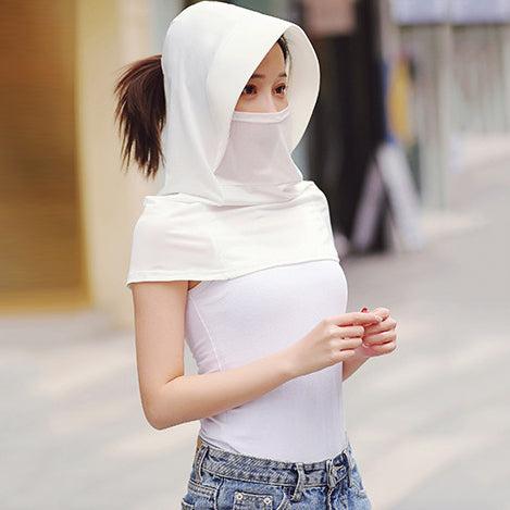 Solid Color Gauze Ice Silk Mask Multi-Functional Sunscreen Hat
