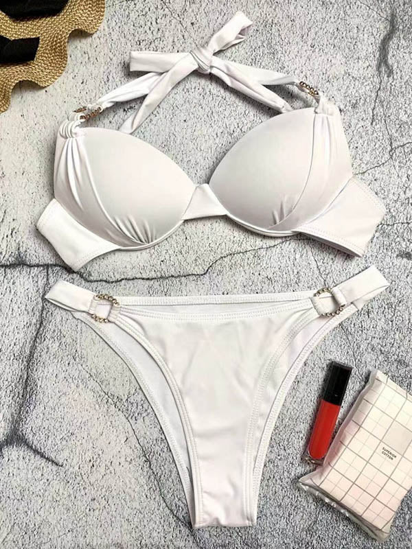 Solid Color Adornment Split Bikini Swimsuit