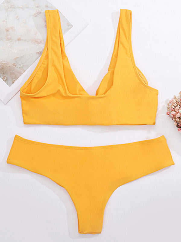 Solid Color Cross Hollow Split Bikini Swimsuit