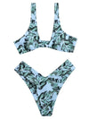 Leaf Print Knotted Backless Split Bikini Swimsuit