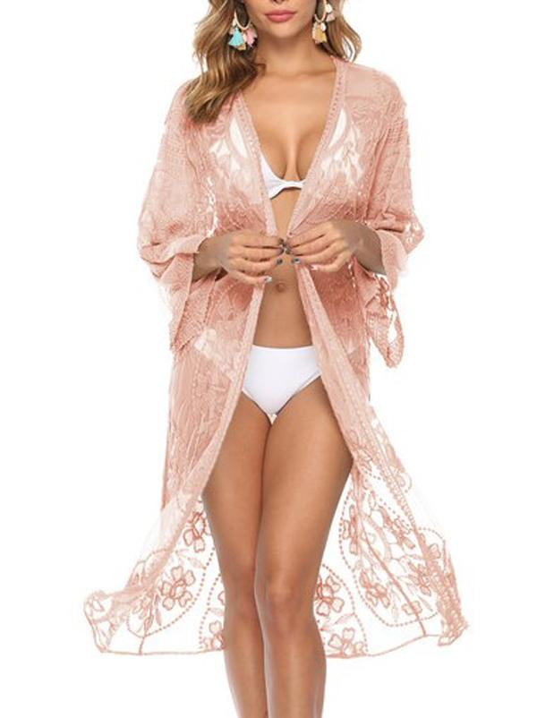 Ragged Embellished See-Through Vacation Cover-Ups